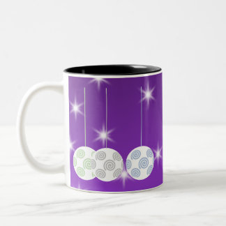 3 White Christmas Baubles on Purple Background. Two-Tone Coffee Mug