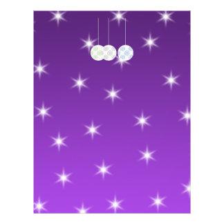 3 White Swirl Design Christmas Baubles. On Purple 21.5 Cm X 28 Cm Flyer