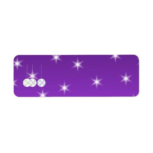 3 White Swirl Design Christmas Baubles. On Purple Return Address Label