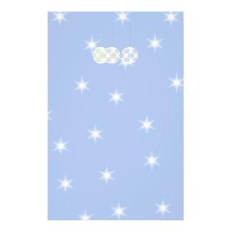 3 White Swirly Christmas Baubles. On Blue. 14 Cm X 21.5 Cm Flyer