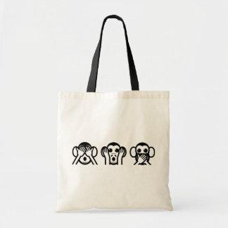 3 Wise Monkeys Emoji Tote Bag
