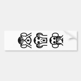 3 Wise Monkeys Emoji Bumper Sticker