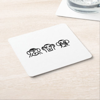3 Wise Monkeys Emoji Square Paper Coaster