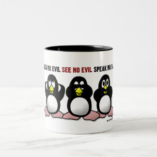 3 Wise Penguins Two-Tone Coffee Mug