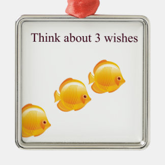 3 wishes Silver-Colored square decoration