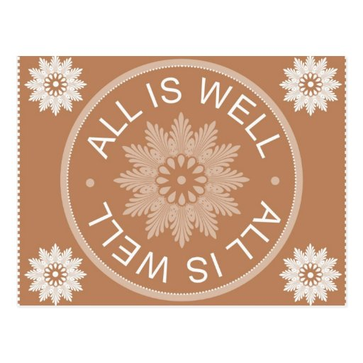 3 Word Quotes ~All Is Well ~Motivational Post Cards