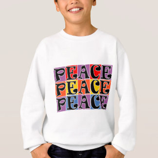 3 X PEACE IN SQUARE BLOCKS PURPLE RED BLUE ORANGE. SWEATSHIRT