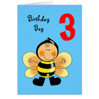 3 year old birthday boy card