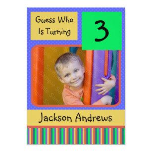 3 Year Old Birthday Party Invitations BOY