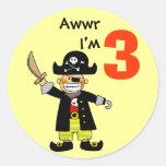 3 year old pirate boy round sticker