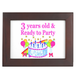 3 YEARS OLD AND READY TO PARTY BIRTHDAY GIRL KEEPSAKE BOX