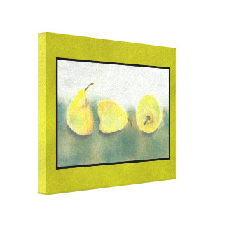 3 Yellow and Green Pears Stretched Canvas Print