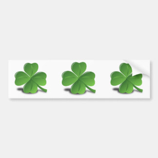 3D 4 Leaf Clover Bumper Sticker