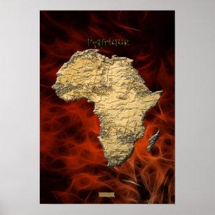 3D AFRICAN MAP Red Fractal Art Poster