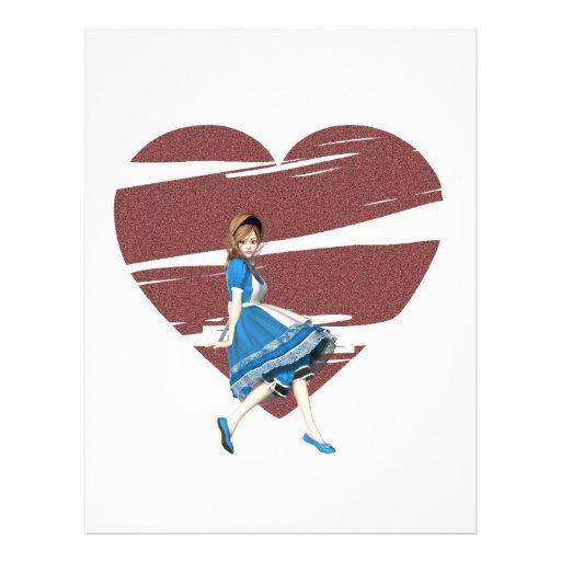 3D Alice & Red Heart Flyer Design