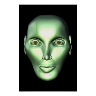 3D Alien Head Extraterrestrial Canvas Print