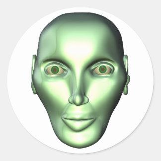 3D Alien Head Round Stickers for SciFi Fans