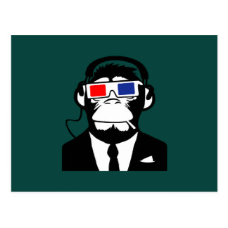 3D Ape Monkey Club Electro Motive Headphones Postcard