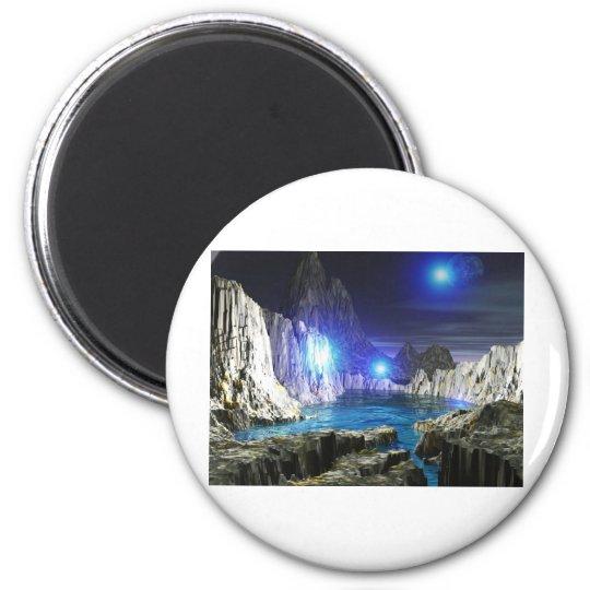 3d art blue moon 6 cm round magnet