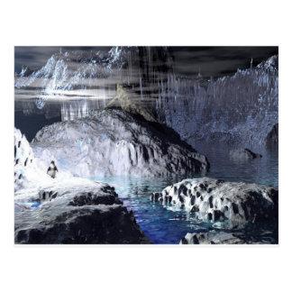 3d art penguin fantasy postcard