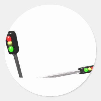 3d Art Traffic Light  Model Round Sticker
