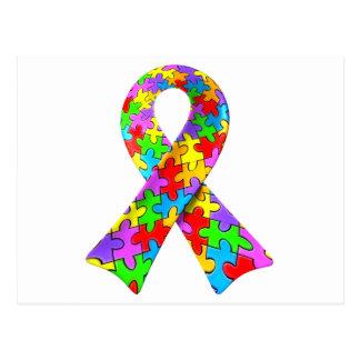 3D Autism awareness puzzle ribbon Postcard