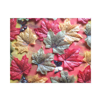 3d autumn leaves and butterfly canvas print