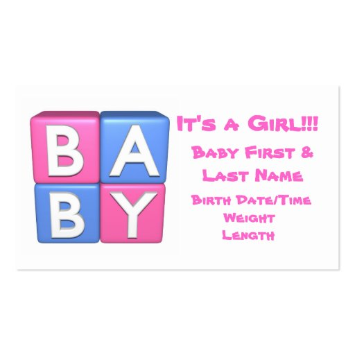 3d baby girl announcement zazzle for 3d business cards templates