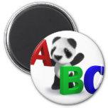 3d Baby Panda ABC 6 Cm Round Magnet