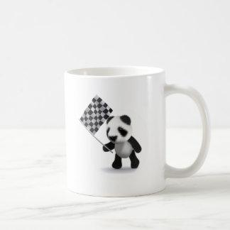 3d Baby Panda Checkered Flag Basic White Mug