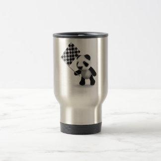 3d Baby Panda Checkered Flag Stainless Steel Travel Mug