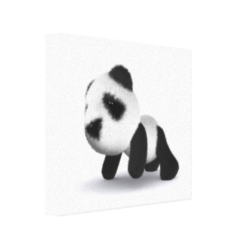 3d Baby Panda Crawling Gallery Wrapped Canvas