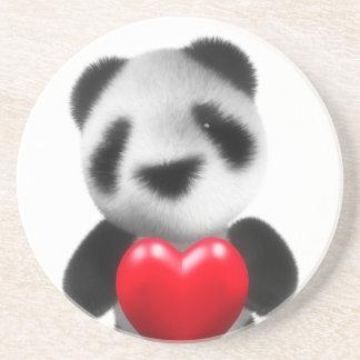 3d Baby Panda Hugs a Heart Coaster