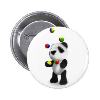 3d Baby Panda Juggles 6 Cm Round Badge