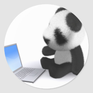 3d Baby Panda Laptop Round Stickers