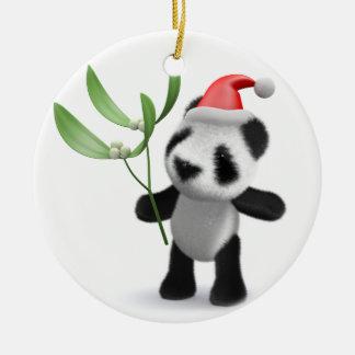 3d Baby Panda Mistletoe Christmas Ornament