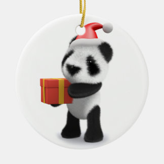 3d Baby Panda Santa Present Round Ceramic Decoration