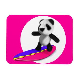 3d Baby Panda Surfing Rectangular Photo Magnet