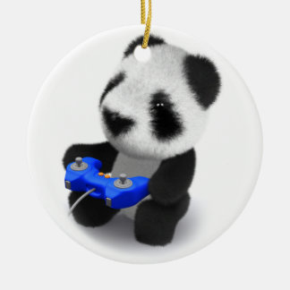 3d Baby Panda Videogames Double-Sided Ceramic Round Christmas Ornament