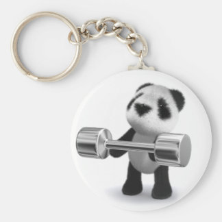 3d Baby Panda Weightlifter Key Ring