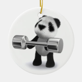 3d Baby Panda Weightlifter Round Ceramic Decoration