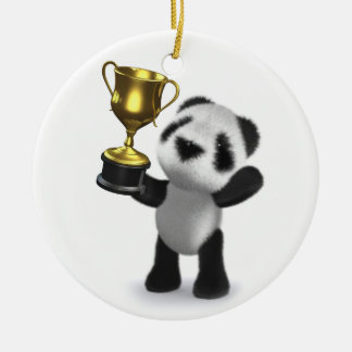 3d Baby Panda Winner Christmas Ornament