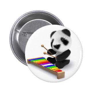 3d Baby Panda Xylophone 6 Cm Round Badge