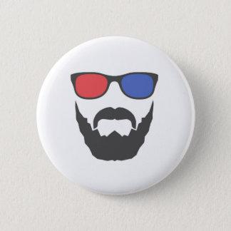 3D beard 6 Cm Round Badge