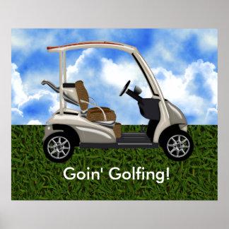 3D Beige Golf Cart on Grass Poster