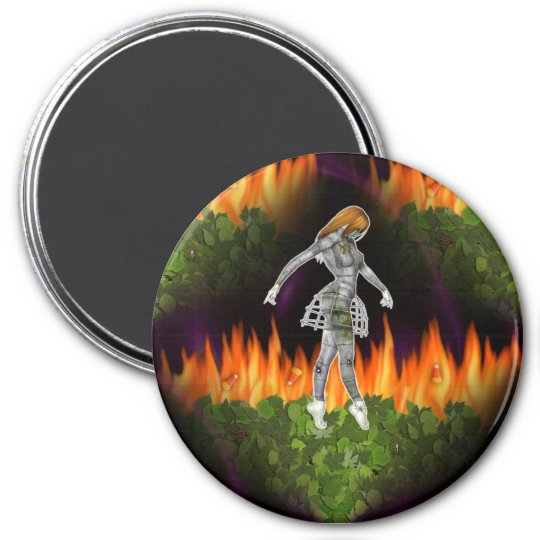 3D Biomechannequin Seamless Fire & Candycorn 7.5 Cm Round Magnet
