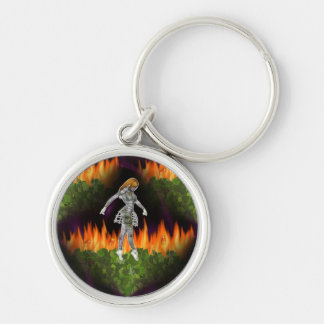 3D Biomechannequin Seamless Fire & Candycorn Silver-Colored Round Key Ring
