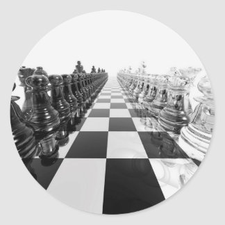 3D Black and White Chess Board Classic Round Sticker