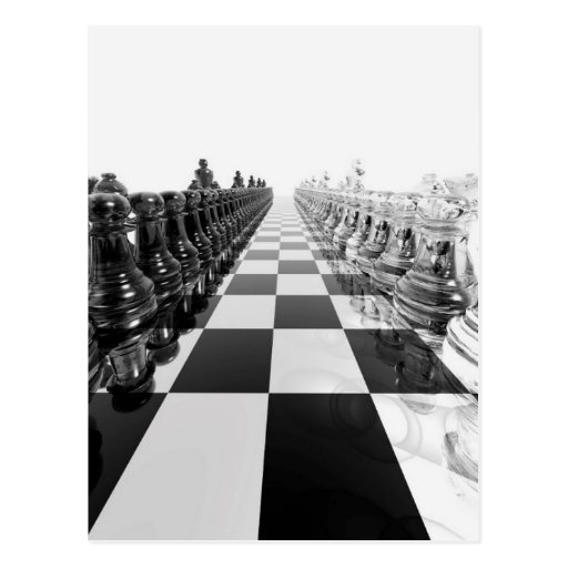 '3d Black And White Chess Board Postcard