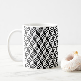 3D black and white cross-stitch cubes pattern Coffee Mug